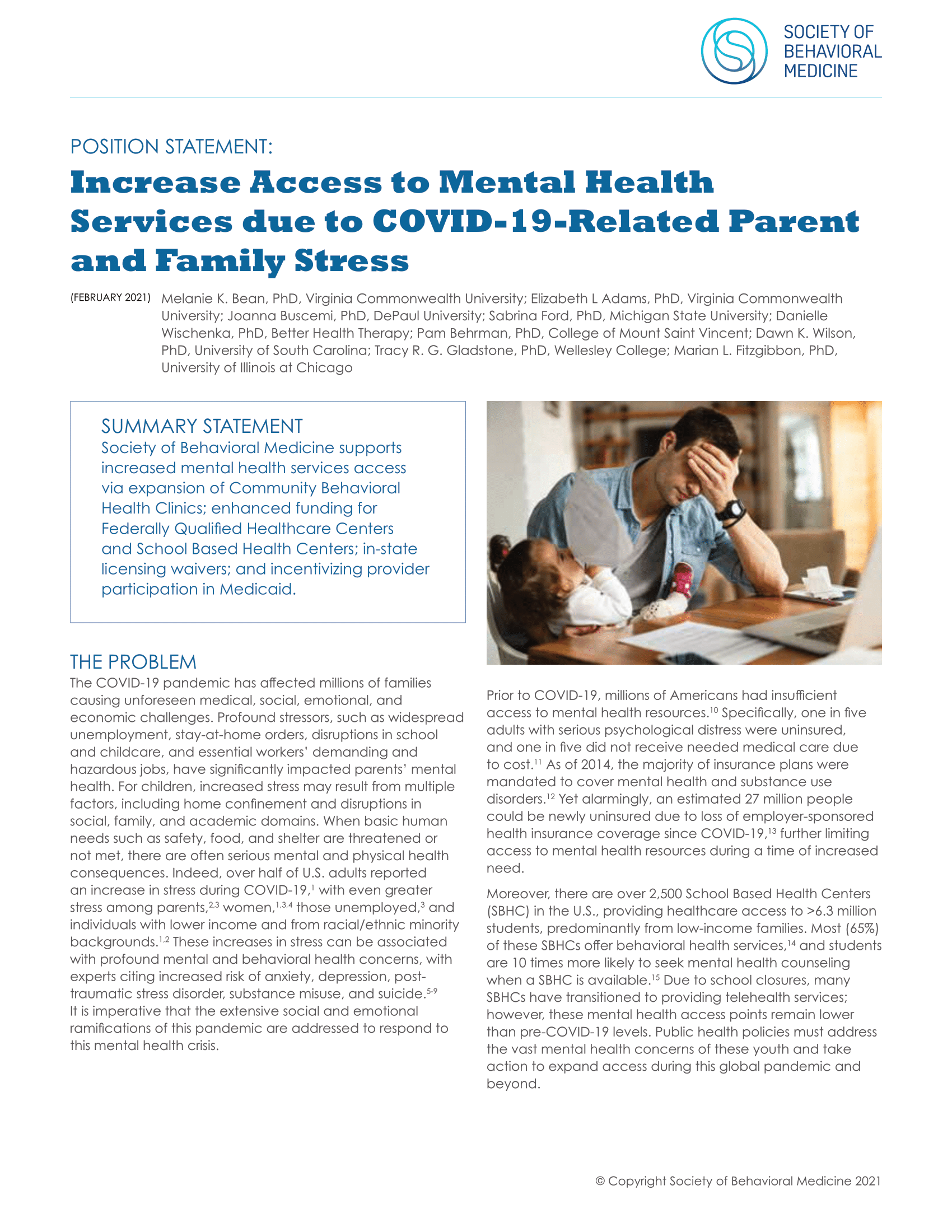 Increase Access to Mental Health Services due to COVID-19-Related Parent and Family Stress